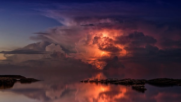 Image of a dramatic sunset just after a storm