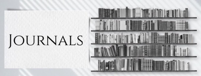image showing bookshelves with text saying Journals