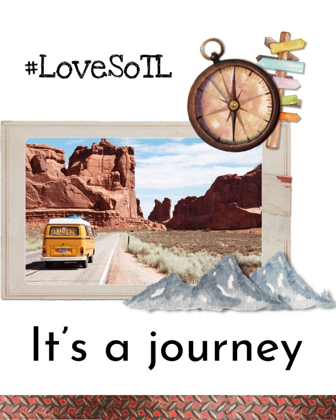 Image description Okay this image Was an Instagram template Travel An old VW campervan on an empty street meandering through a barren landscape of red sandstone Arizona comes to mind Stickers of a signpost and compass top right corner Stickers of blue mountains bottom right Below the picture it says It's a journey Above the LoveSoTL hashtag beckons